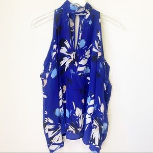 Yumi Kim Blue Hot and Cold Silk Top blouse floral